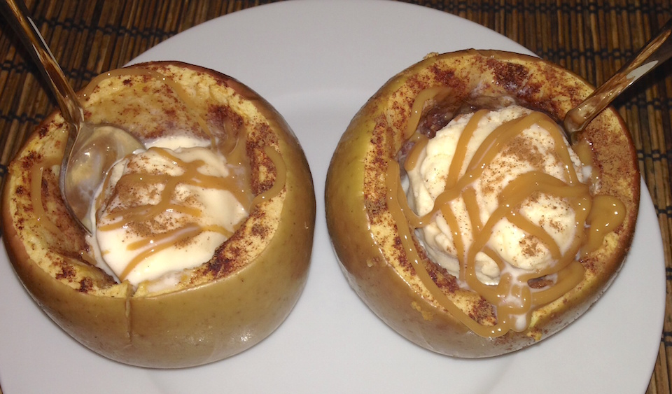 Baked Apples Stuffed with Ice Cream