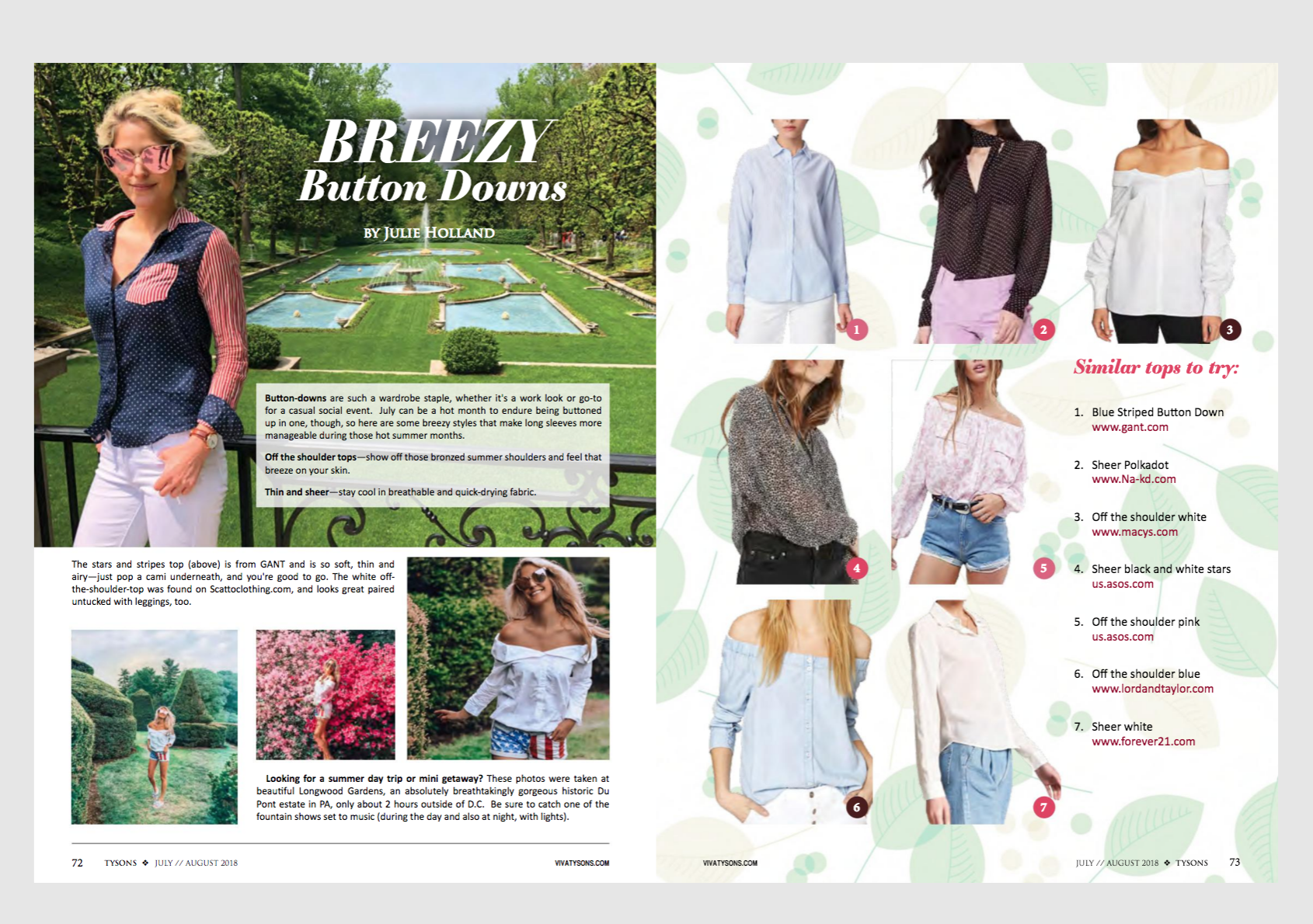 Viva Tysons Magazine July August 2018, Breezy Button Downs by Julie Holland